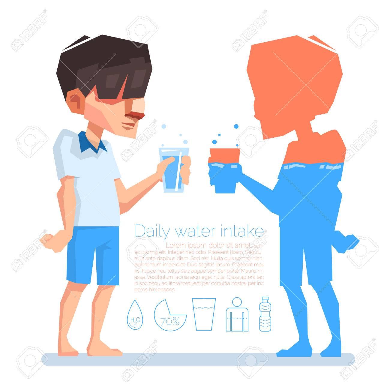 男は彼の手毎日の水分摂取量ベクトル情報のグラフィック イラスト
