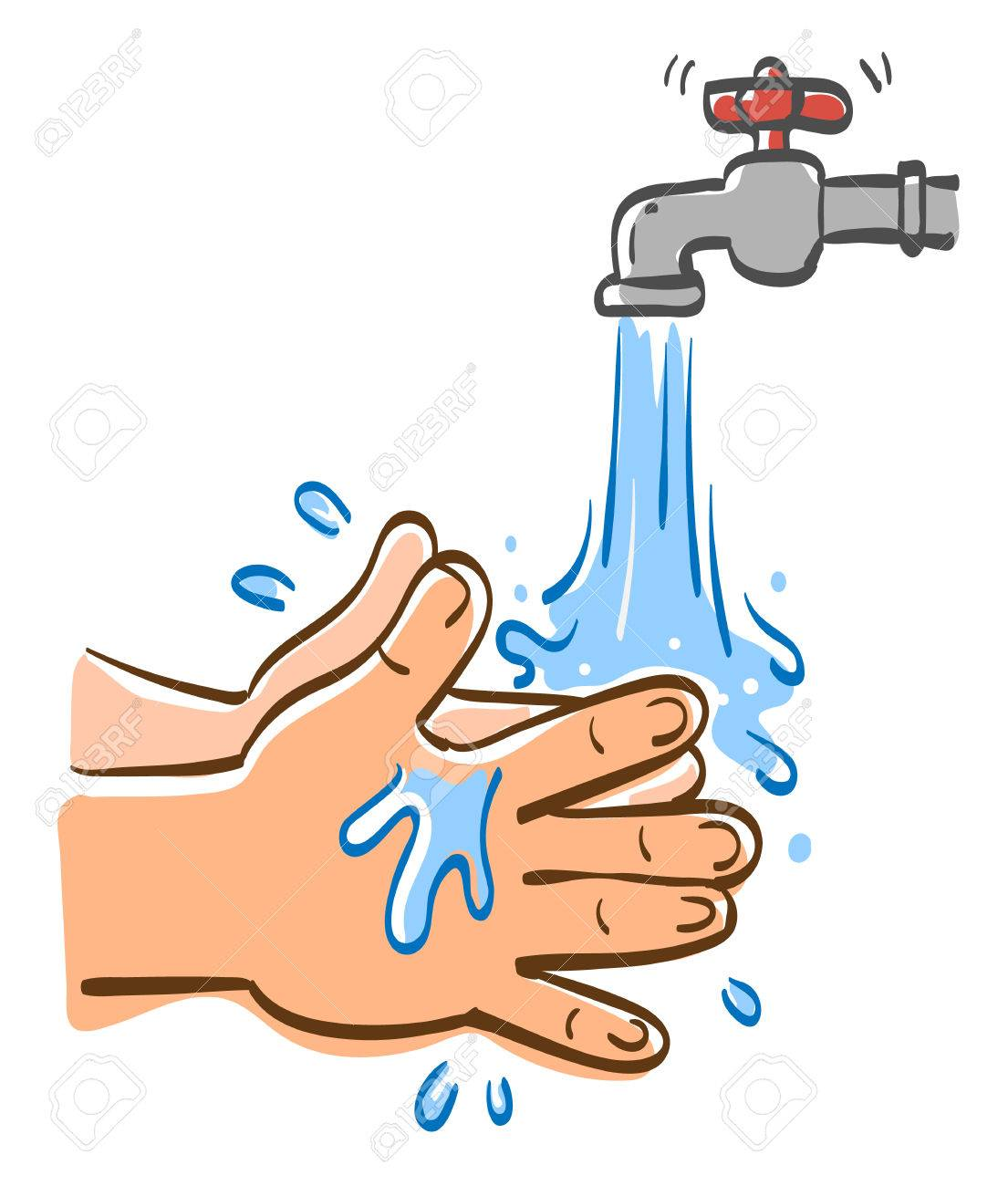 Cleaning hands with water, Vector graphic illustration. - 75568593