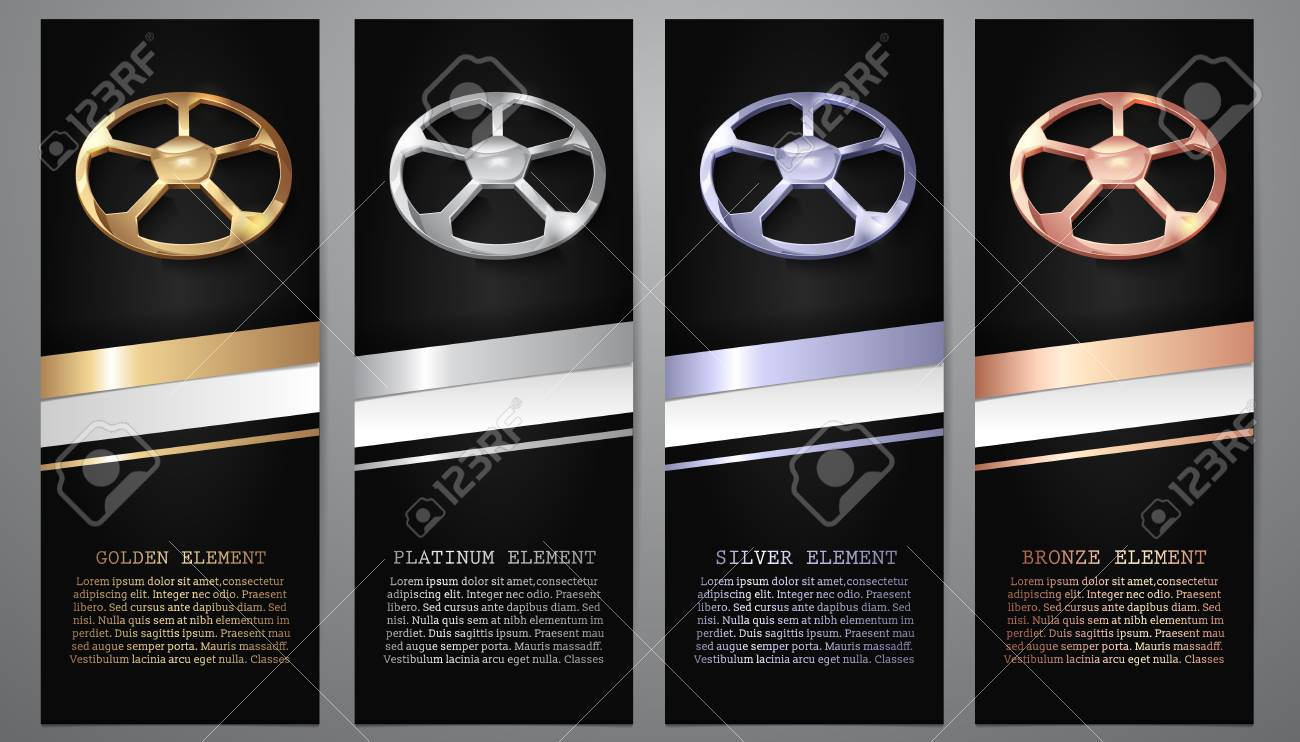 Gold, Platinum, Silver, Bronze football in black banners. - 111264668