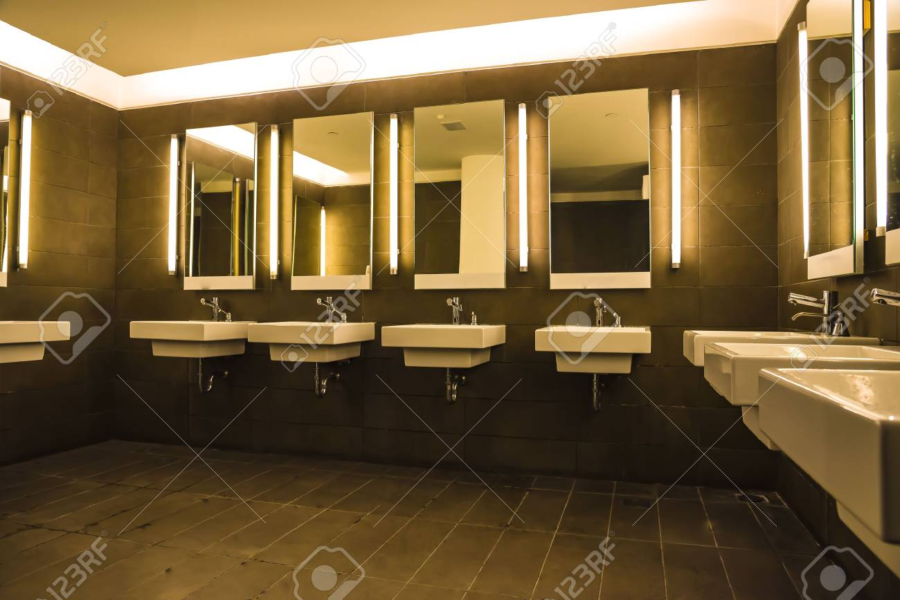 Commercial Bathroom For Washing Hands Sinks And Mirrors Stock Photo Picture And Royalty Free Image Image 73871367