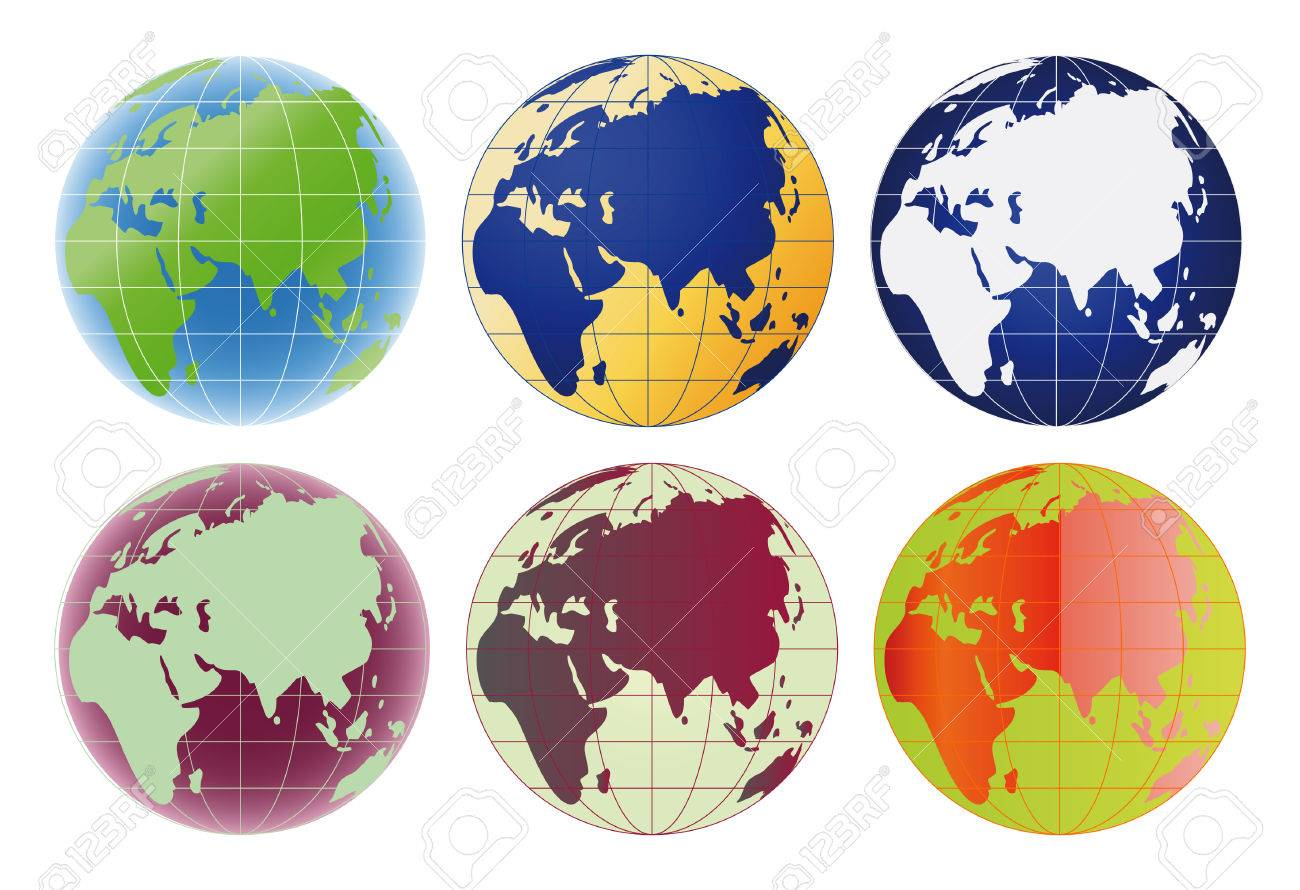 Globe Europe and Asia set of 6 color options Stock Vector - 4526073
