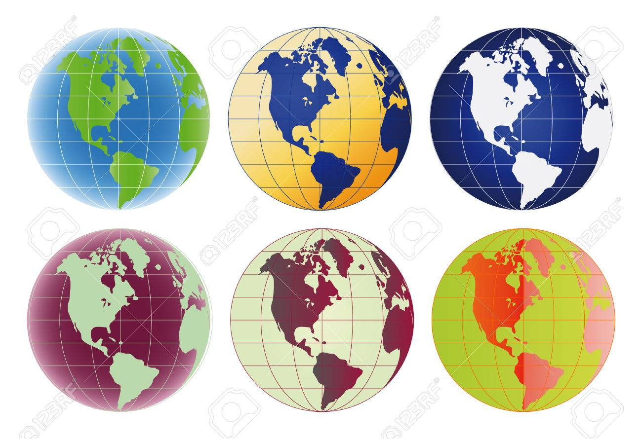Globe North America and Latin America set of 6 color options Stock Vector - 4526072