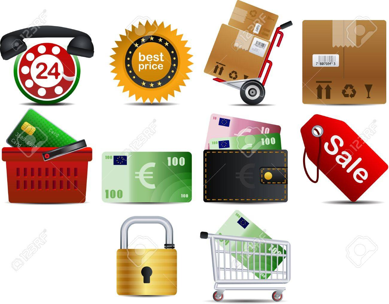 shoping set of 10 icons part 2 Stock Vector - 6840255