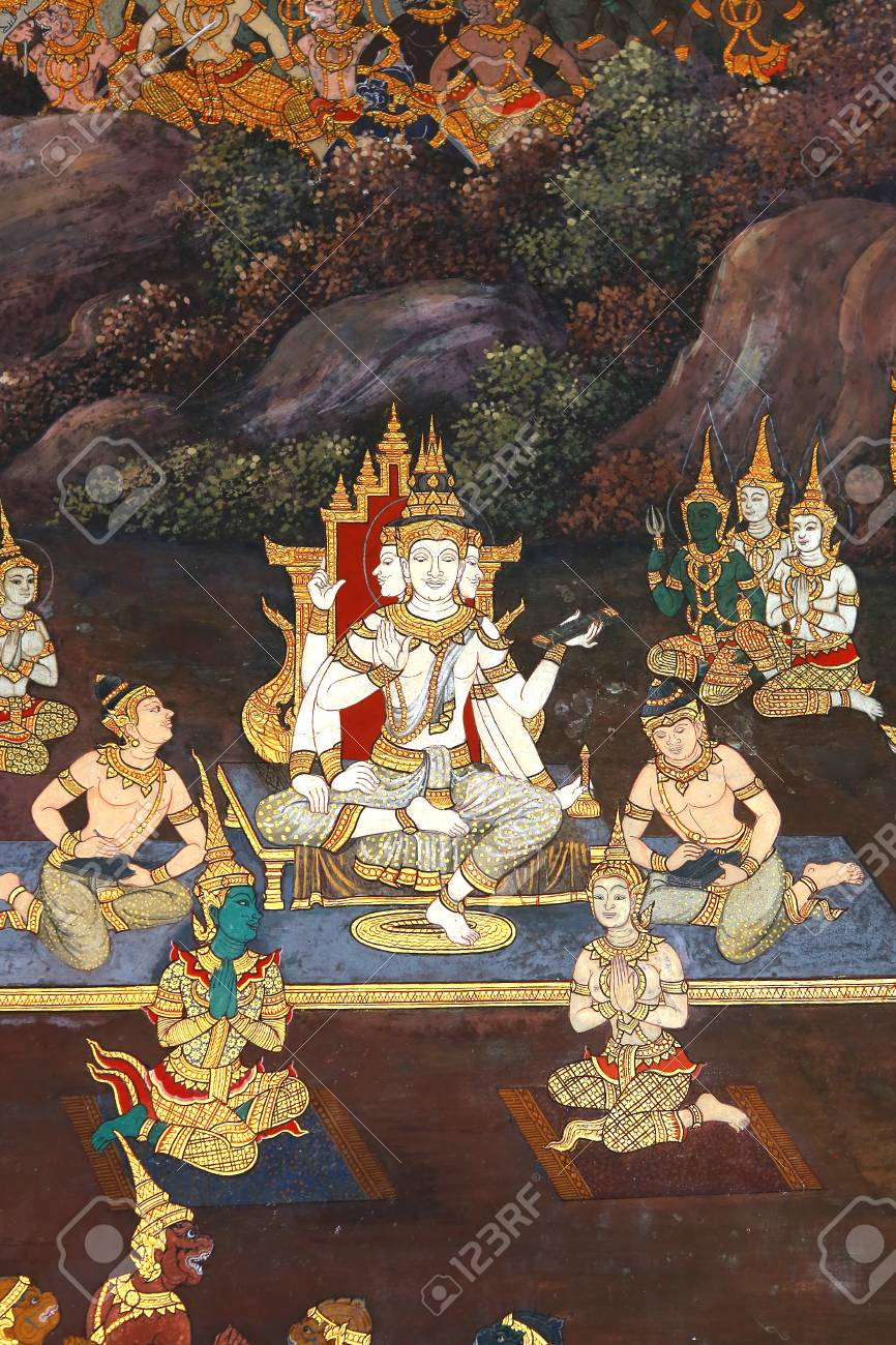 Traditional Thai painting art about Ramayana story on display
