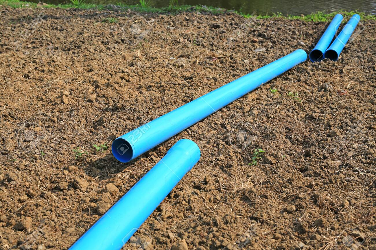 PVC water pipe waiting for connections on dry soil