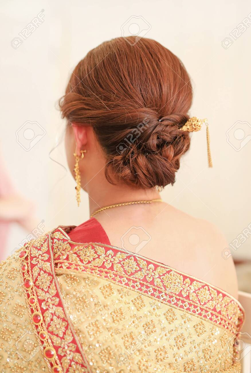 Thai Bridal Wedding Hairstyle Rear View