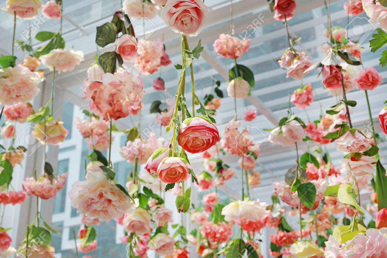 Colorful Of Sweet Artificial Flower Hanging From Ceiling Beautiful Stock Photo Picture And Royalty Free Image Image 138878061