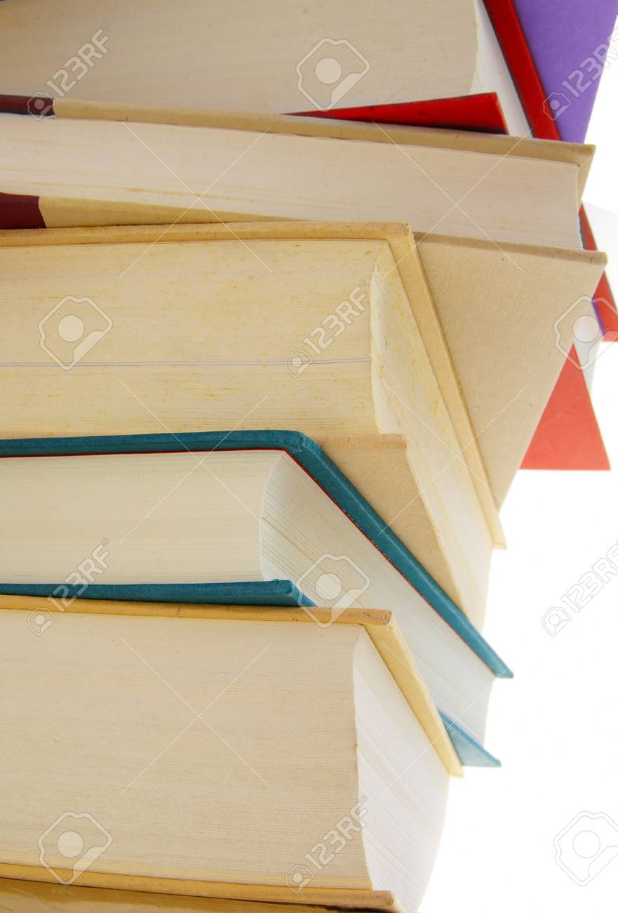 Stack of hard cover books on white background Stock Photo - 849386