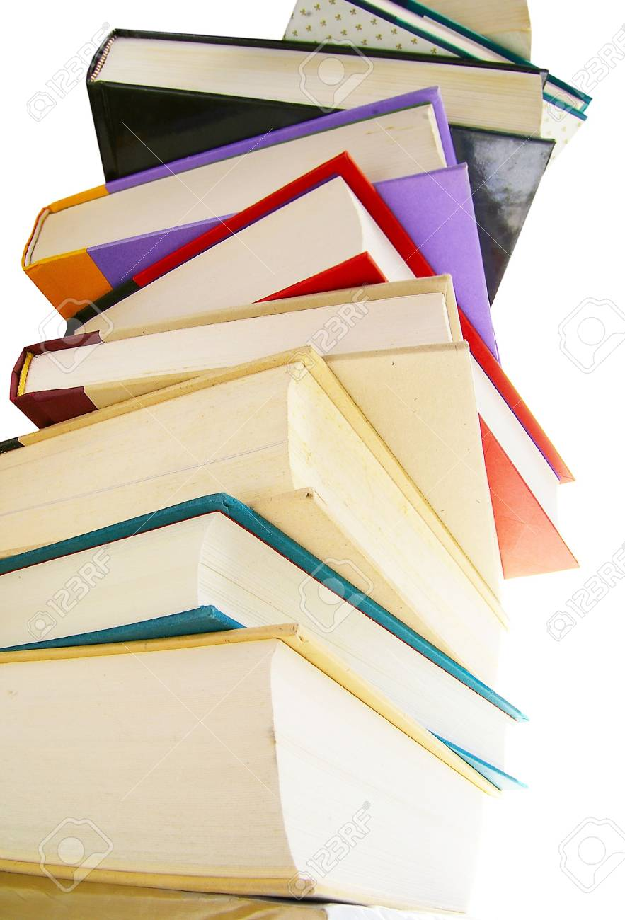 Stack of hardcover books isolated on white Stock Photo - 2668318