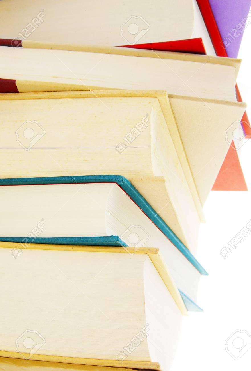 Stack of hard cover books on white background Stock Photo - 2668313