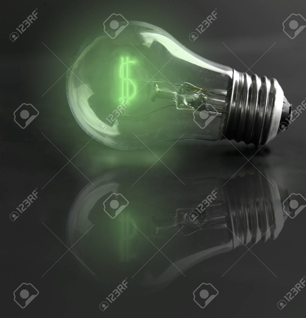 light-bulb money-sign (energy costs) Stock Photo - 3806590