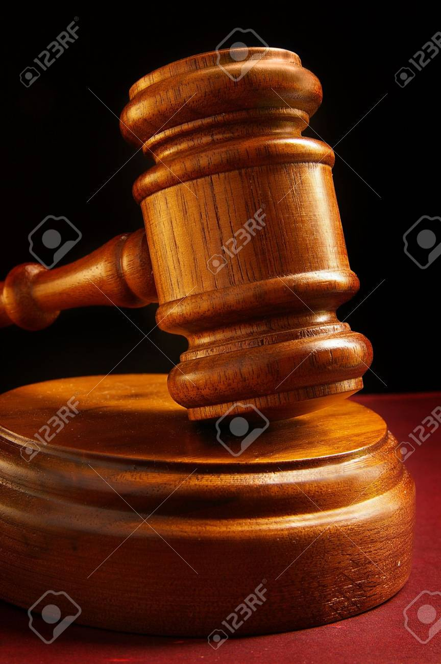 Closeup Of A Judges Wooden Court Gavel Stock Photo