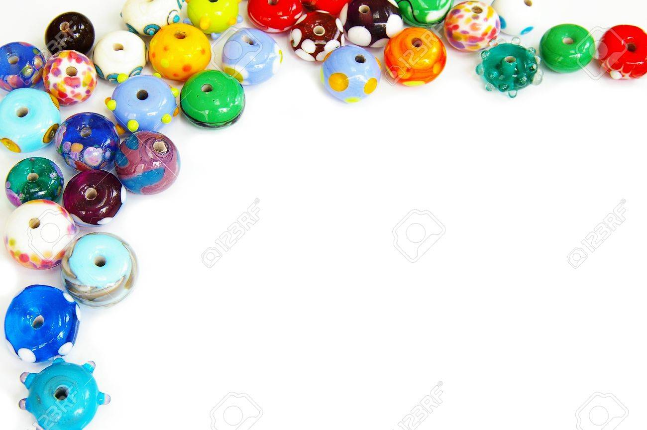 unique glass beads border, with white-space for text Stock Photo - 7560900