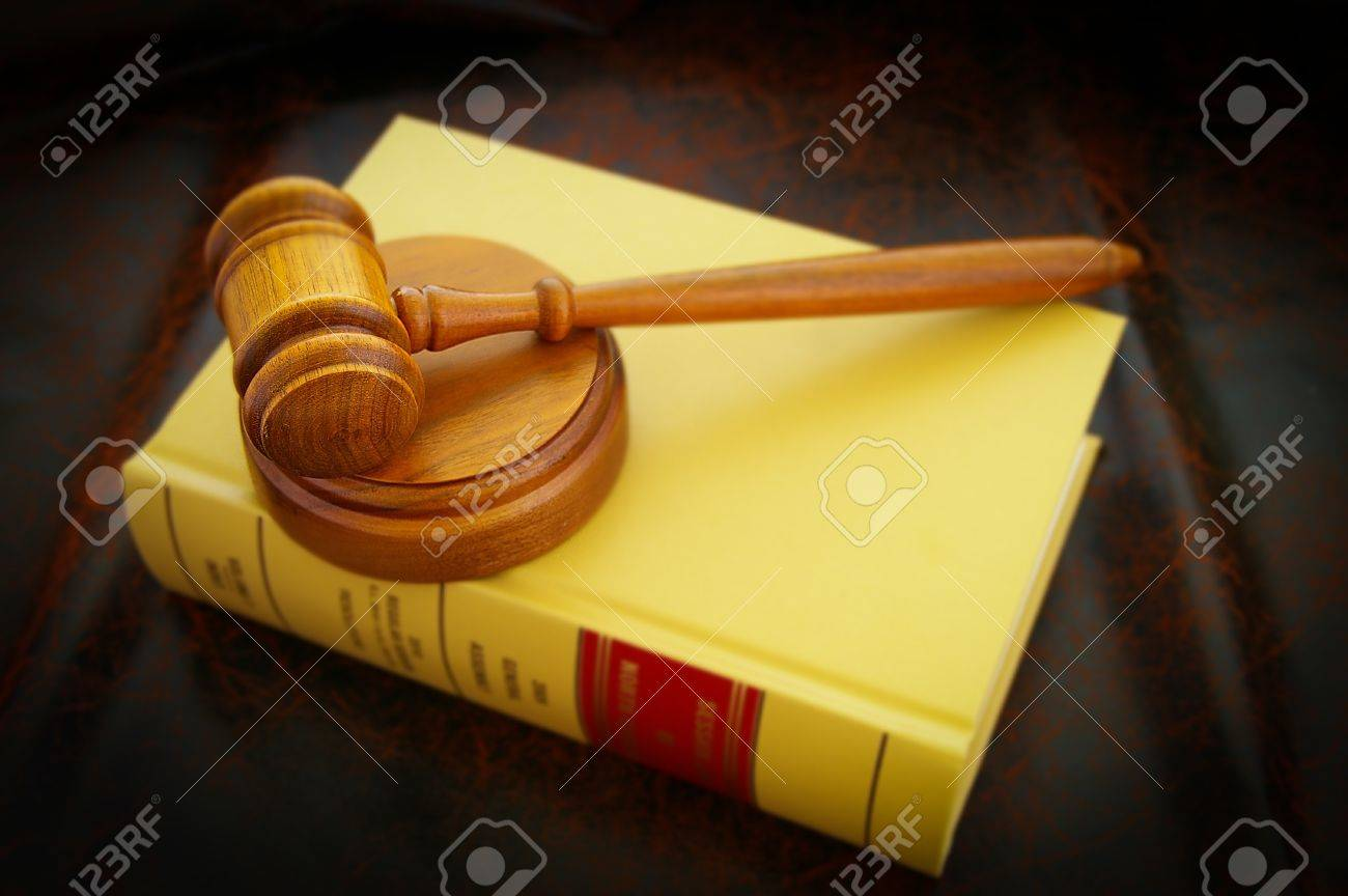 A Judges Legal Gavel And Law Book Stock Photo