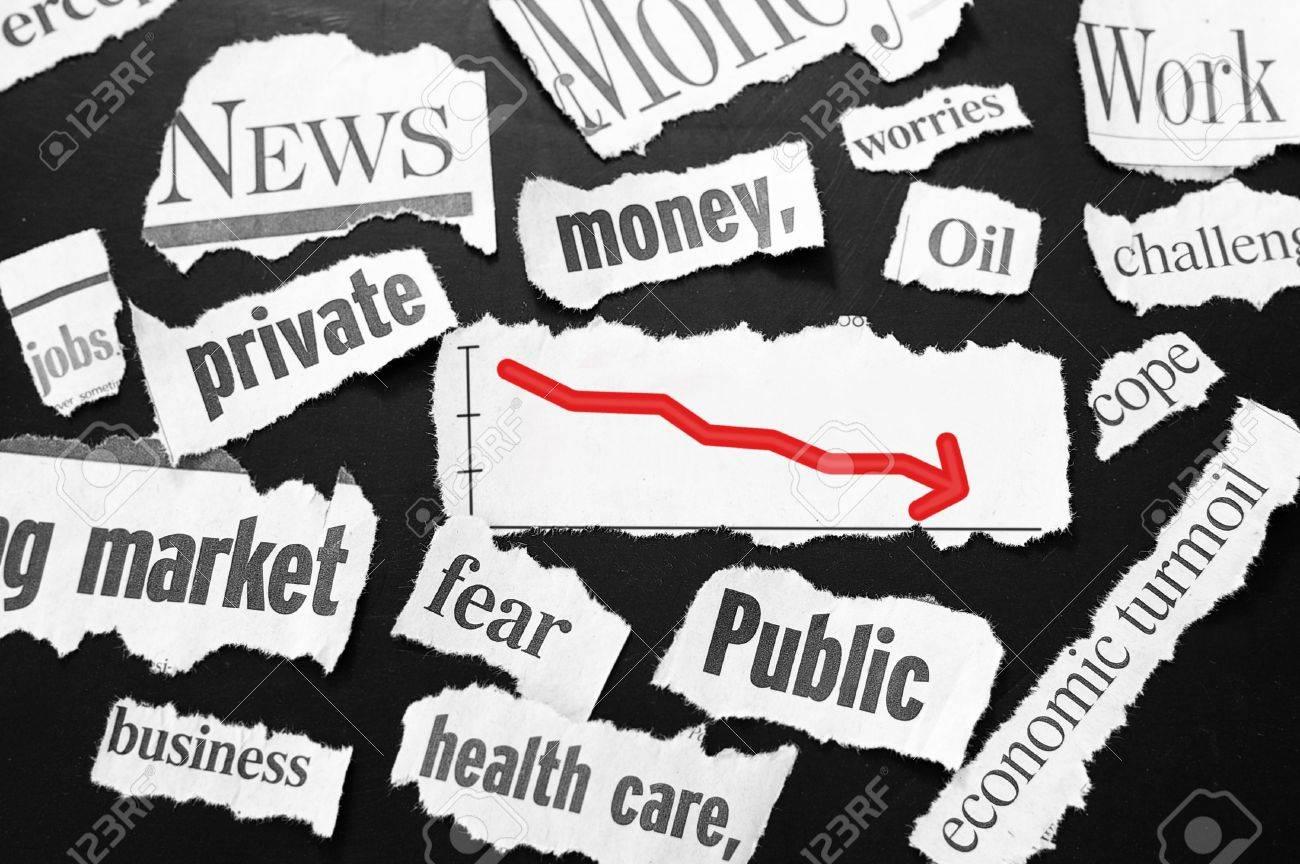 newspaper headlines showing bad news, red down arrow Stock Photo - 10597631