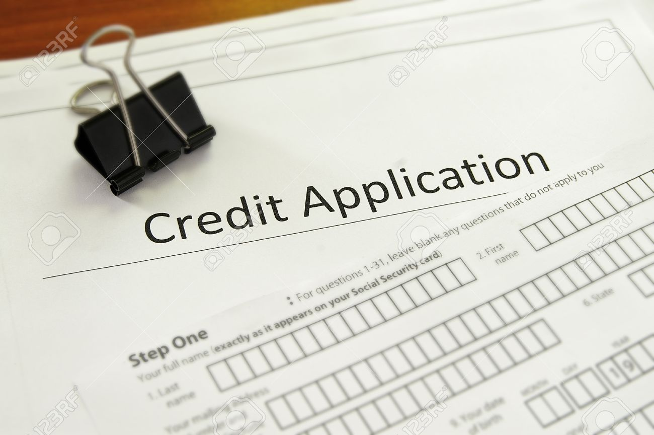 closeup of a blank credit application form stock photo picture and