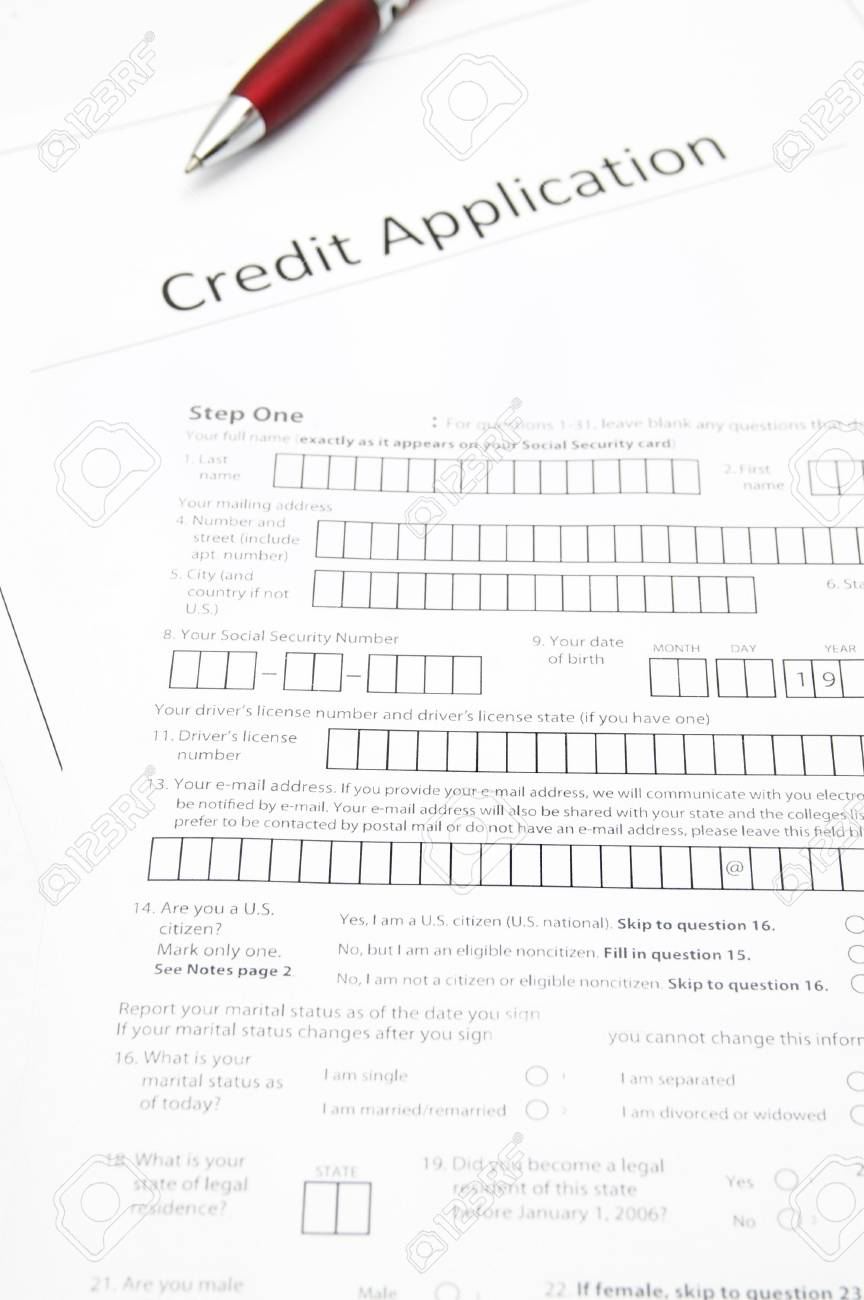 a blank credit application form stock photo picture and royalty