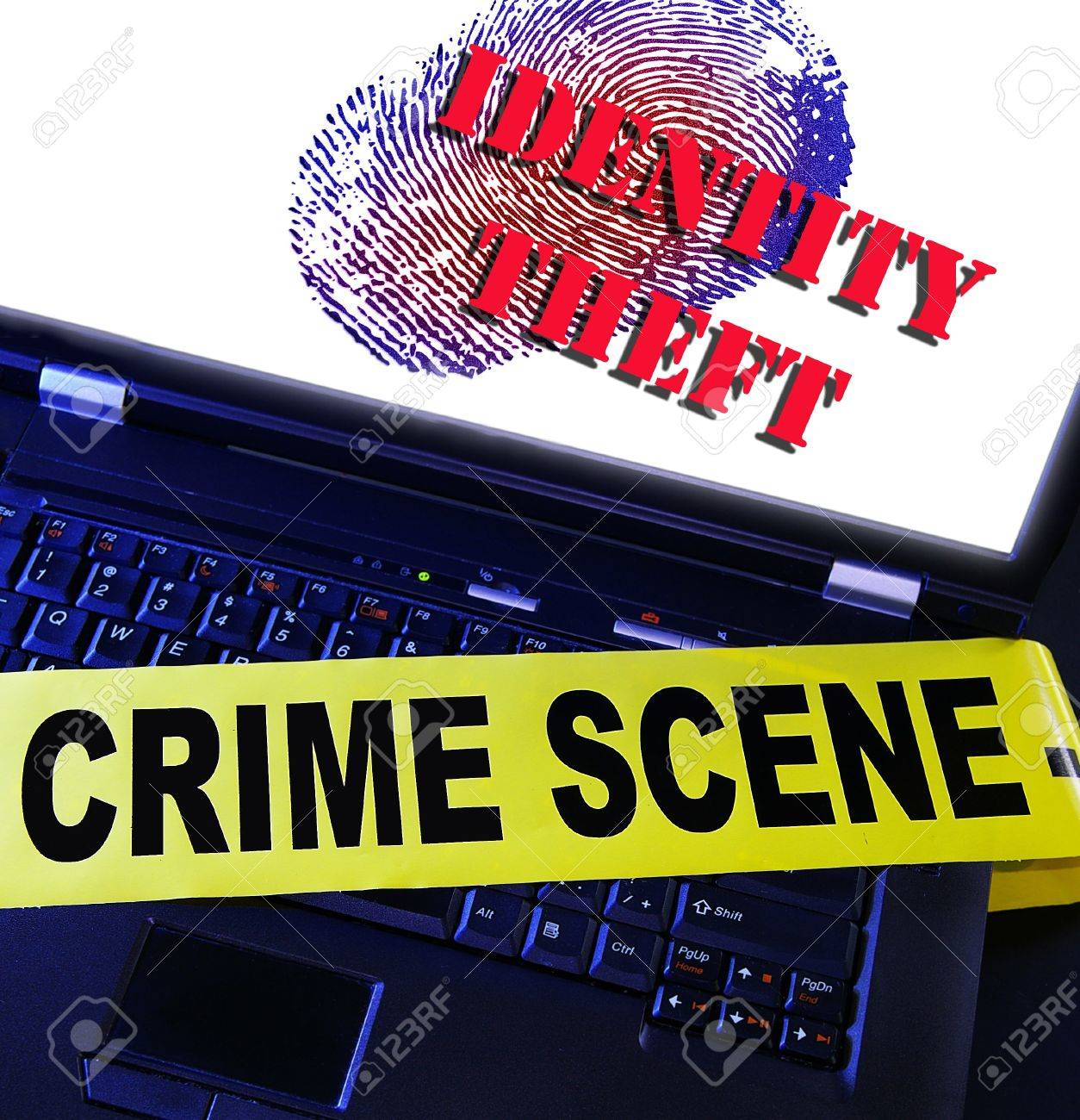 laptop fingerprint with Identity Theft text Stock Photo - 14309973