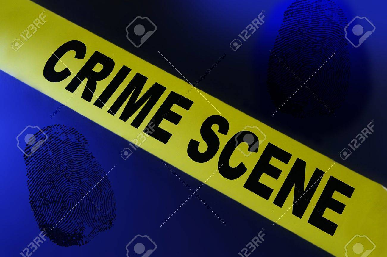 Yellow crime scene tape on blue background with fingerprint Stock Photo - 15081717
