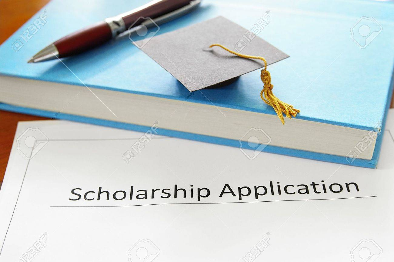 school scholarship application form and education items - 15173888