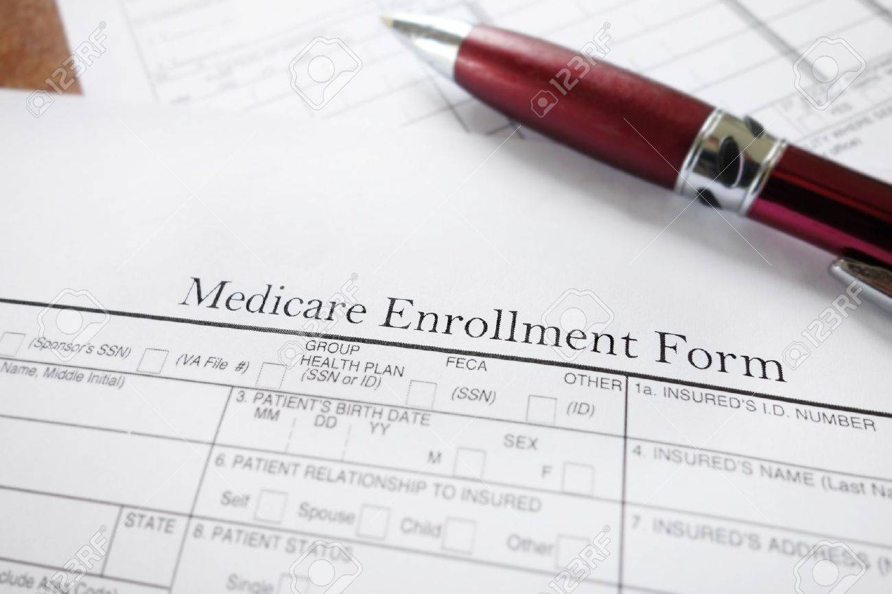 Closeup of a Medicare insurance enrollment form - 17206644