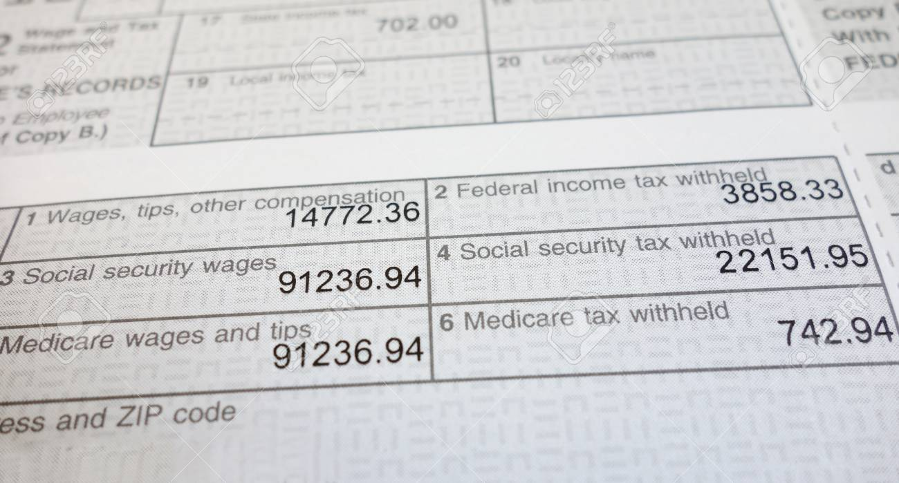 w2 form deductions  Closeup of a W17 form showing Social Security and Medicare deductions