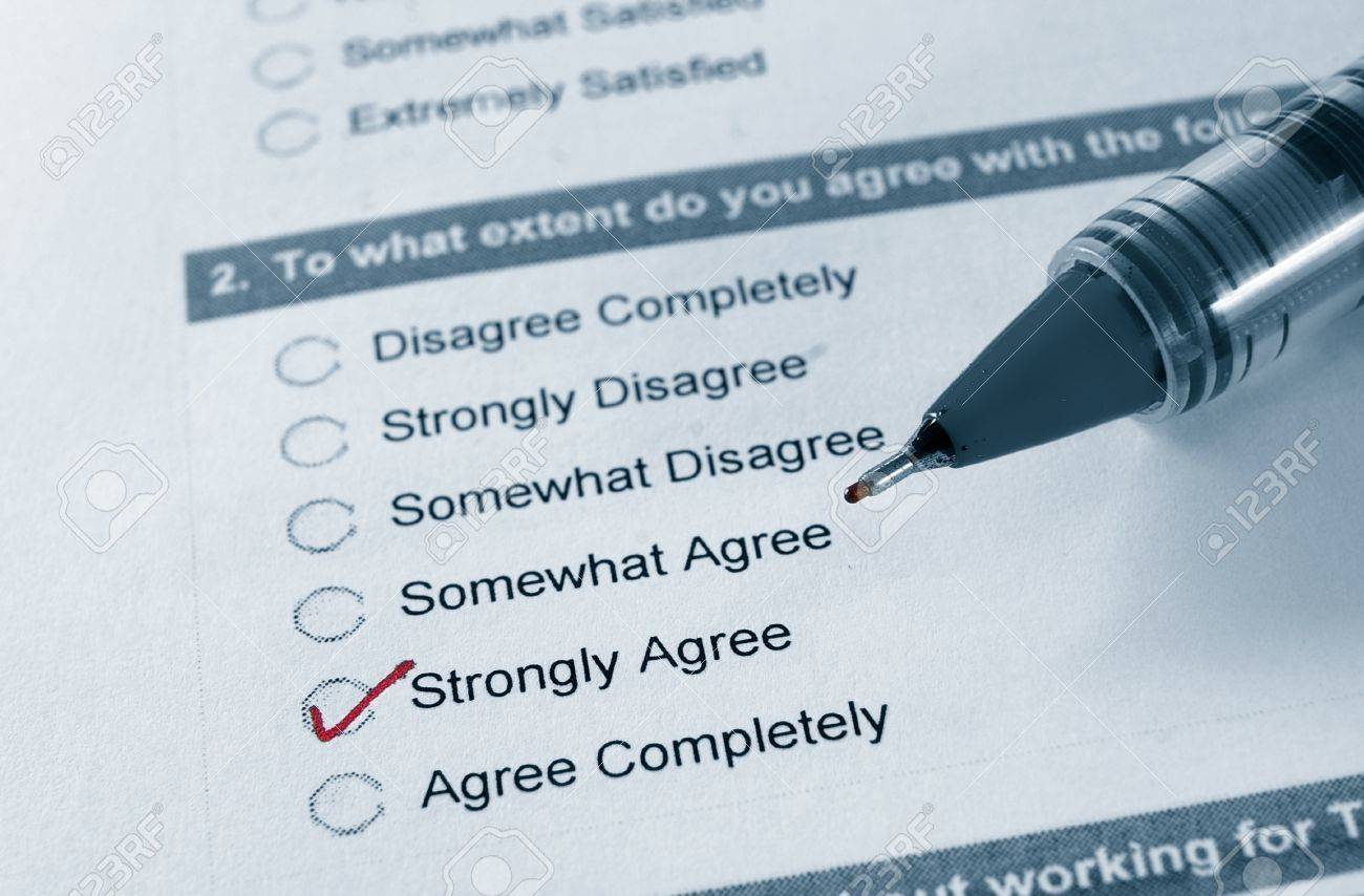 macro of a business survey, with Strongly Agree checked - 17971316
