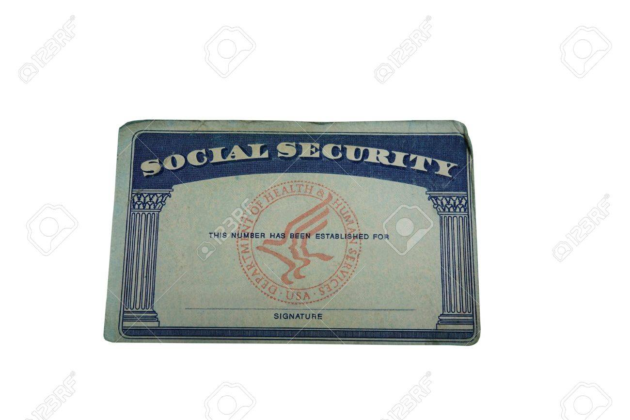 Blank US social security card isolated on white - 19897759