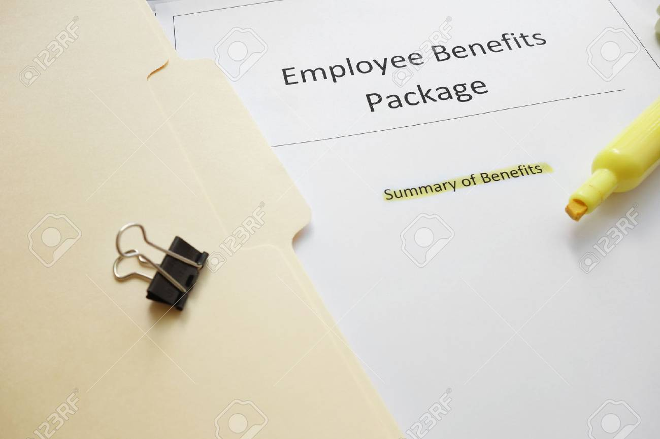 Employee benefits documents with highlighted text - 31776255