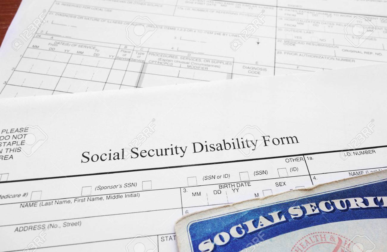Social Security Disability Form And Social Security Card Stock Photo    34580548