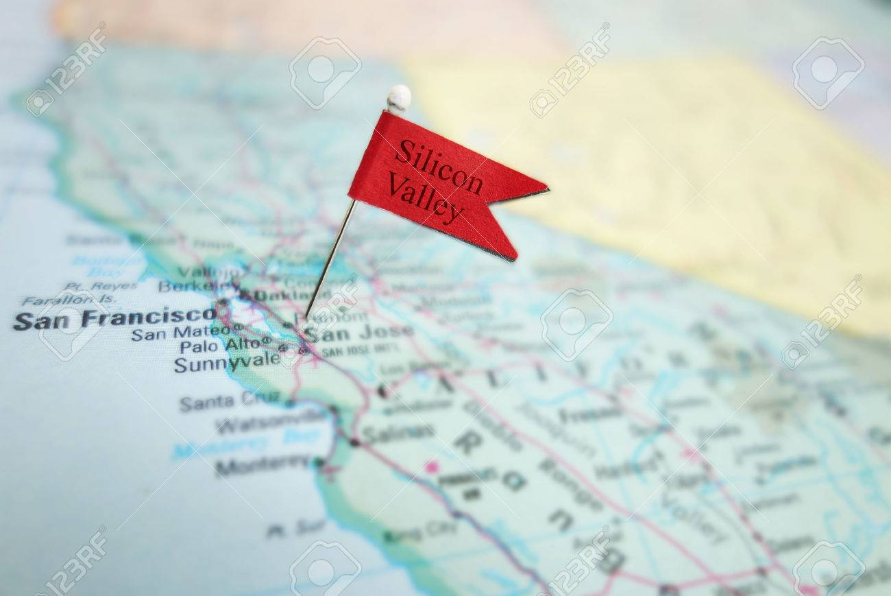 Silicon Valley Karte.Silicon Valley Flag Pin In A Map Of The San Jose And San Francisco