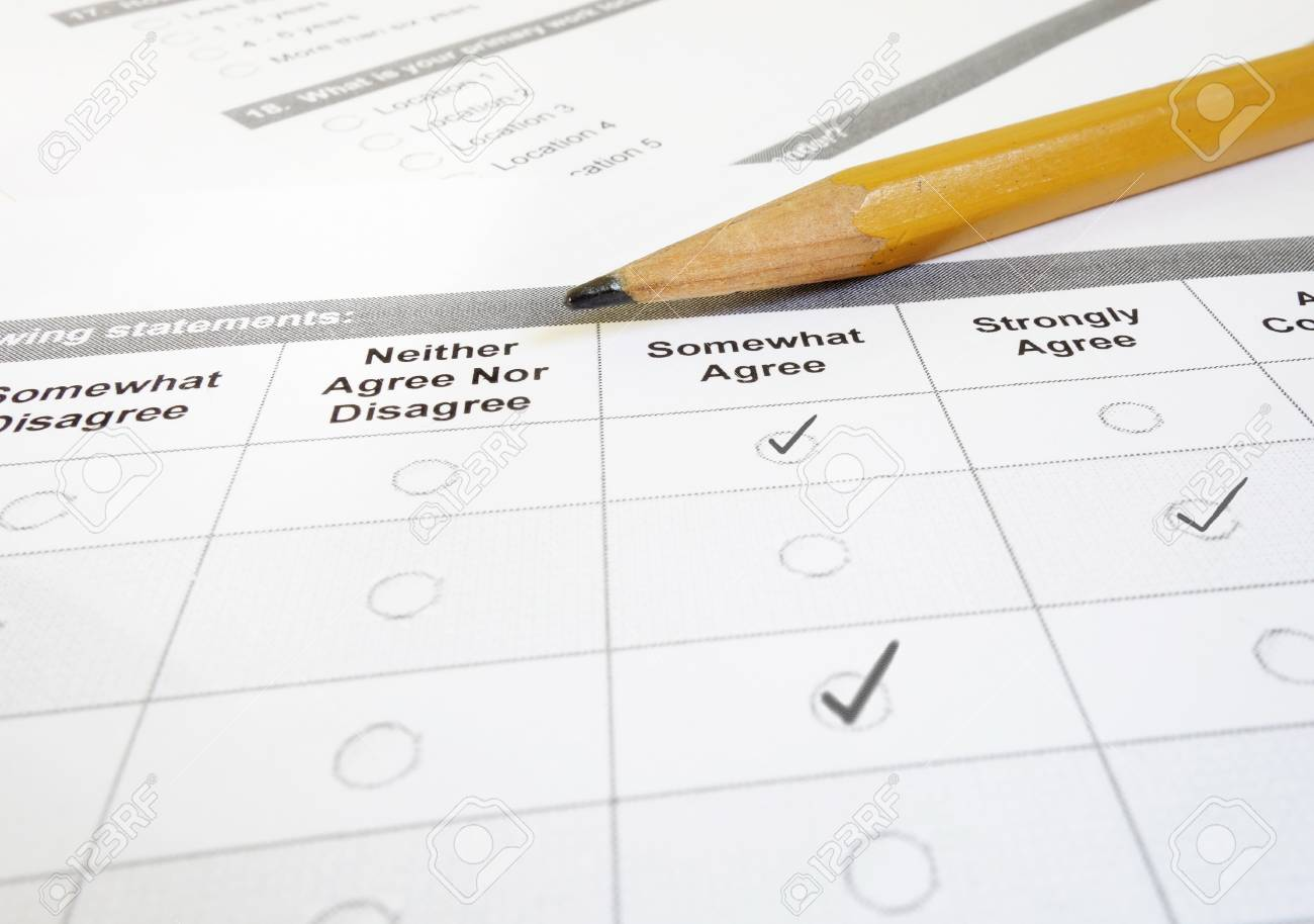 customer satisfaction survey or employee questionnaire and pencil stock photo 90102630