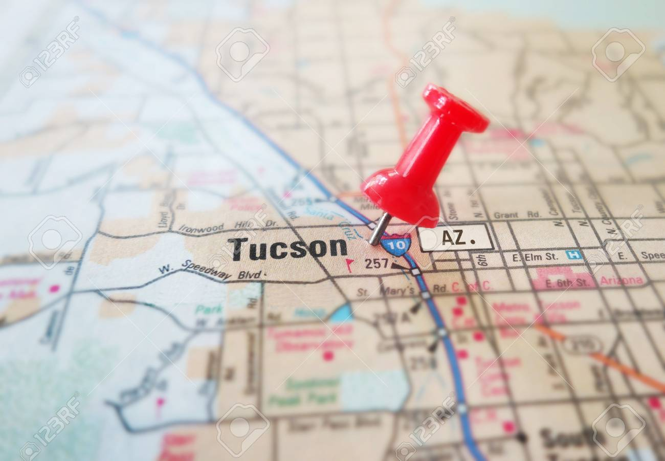 Closeup Of Tucson Arizona Map With Red Pin Stock Photo, Picture And ...