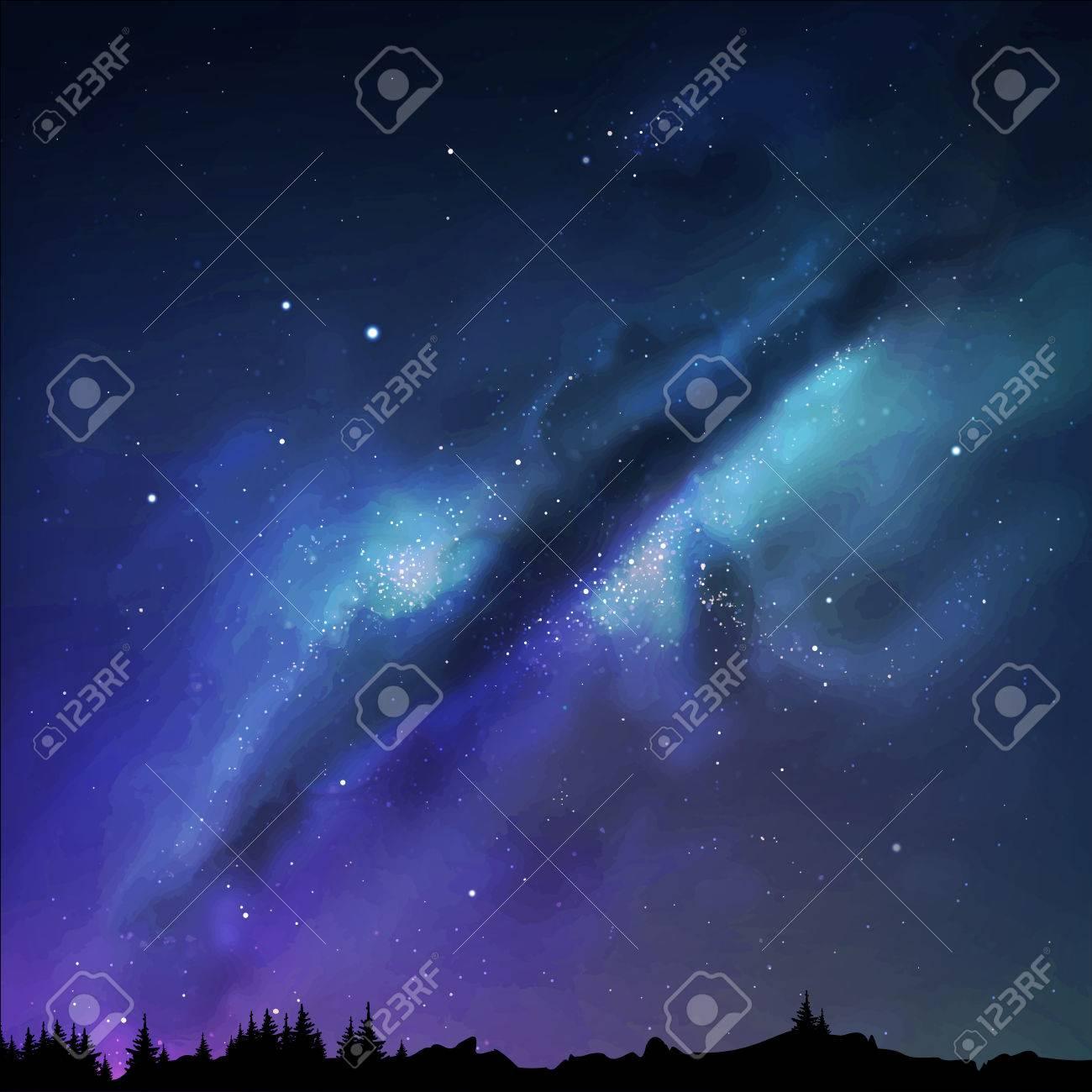 illustration of a milky way. Night sky. - 58560364