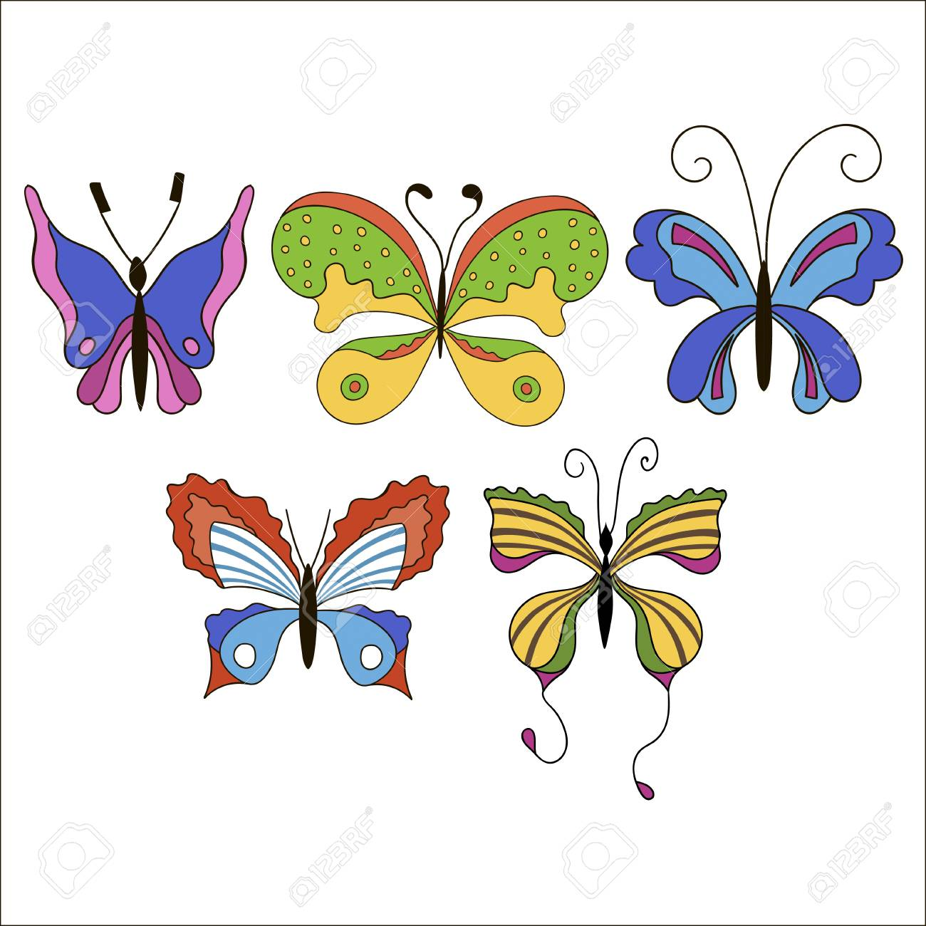 Set Nette Karikatur Farbige Schmetterlinge Getrennt Auf Weißem ...