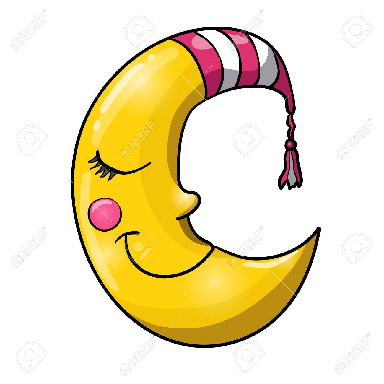 Cartoon sleeping moon in striped nightcap isolated on white background. Good night! - 84803435