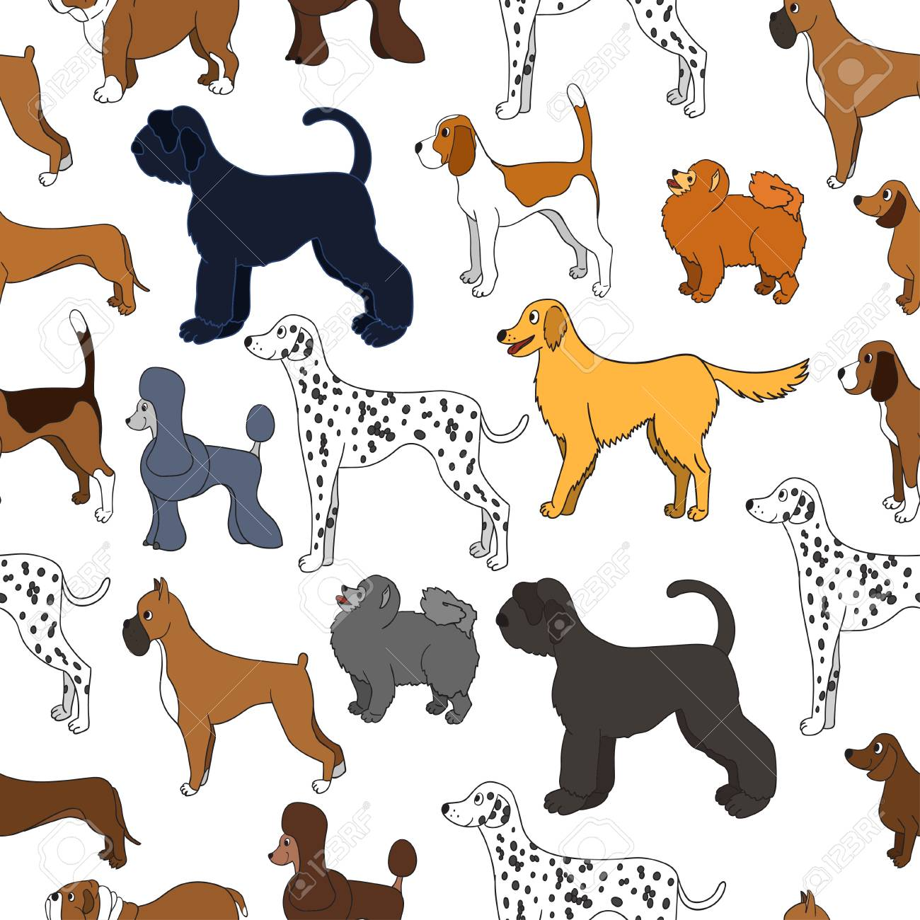 Cute Seamless Pattern With Cartoon Dogs Different Breeds Good
