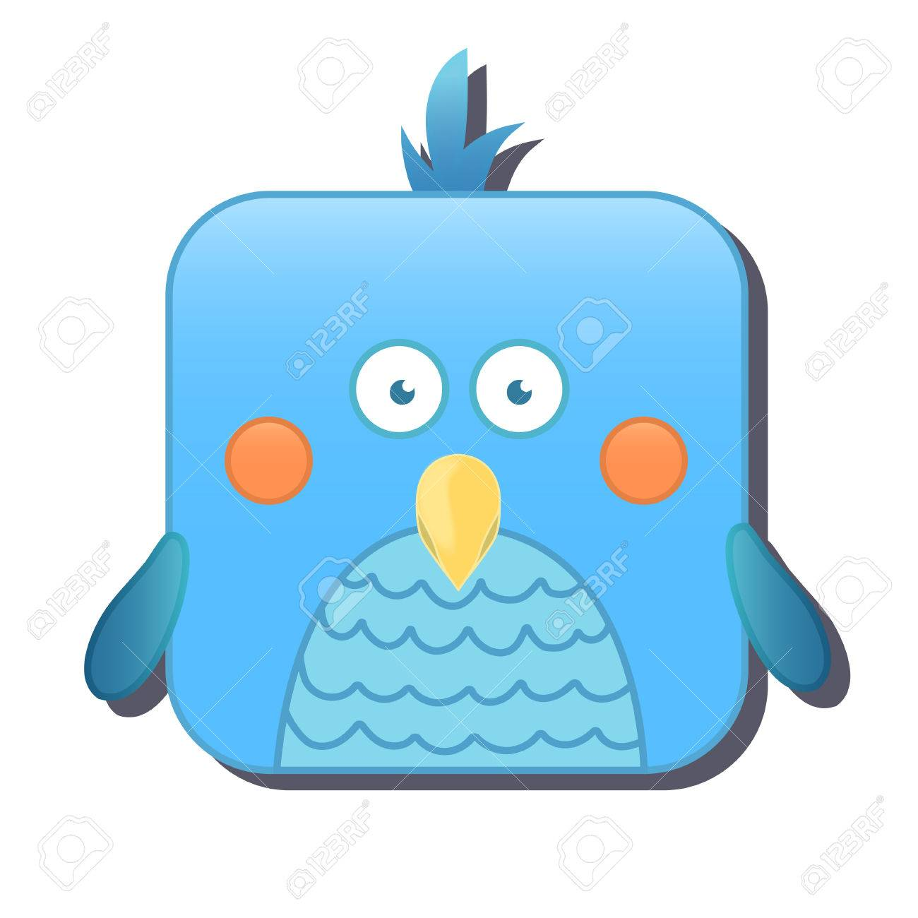 Cute square bird, parrot  illustration isolated on white background