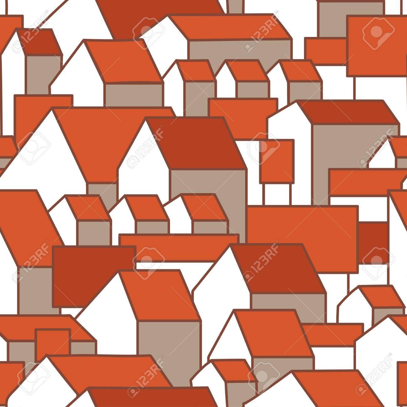 Nahtloses Muster Mit Ehrfürchtigen Häusern Und Roten Dächern ...