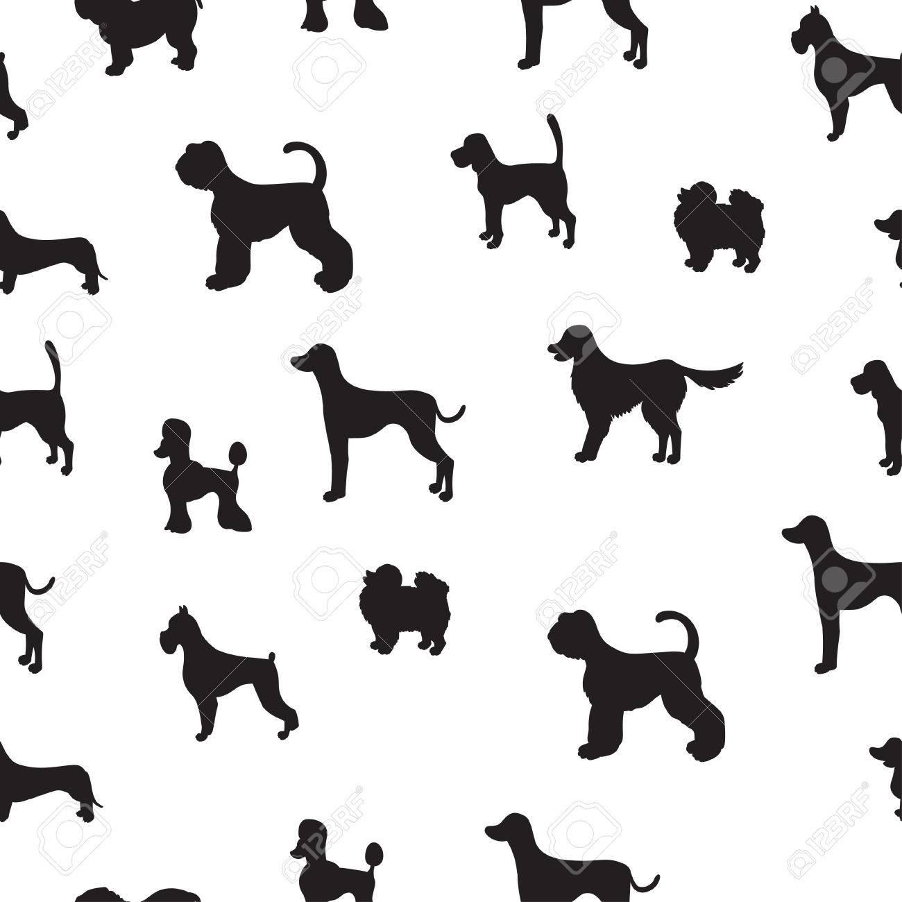 Inusual Patrón Sin Costuras Con Siluetas De Perros. Conjunto De ...