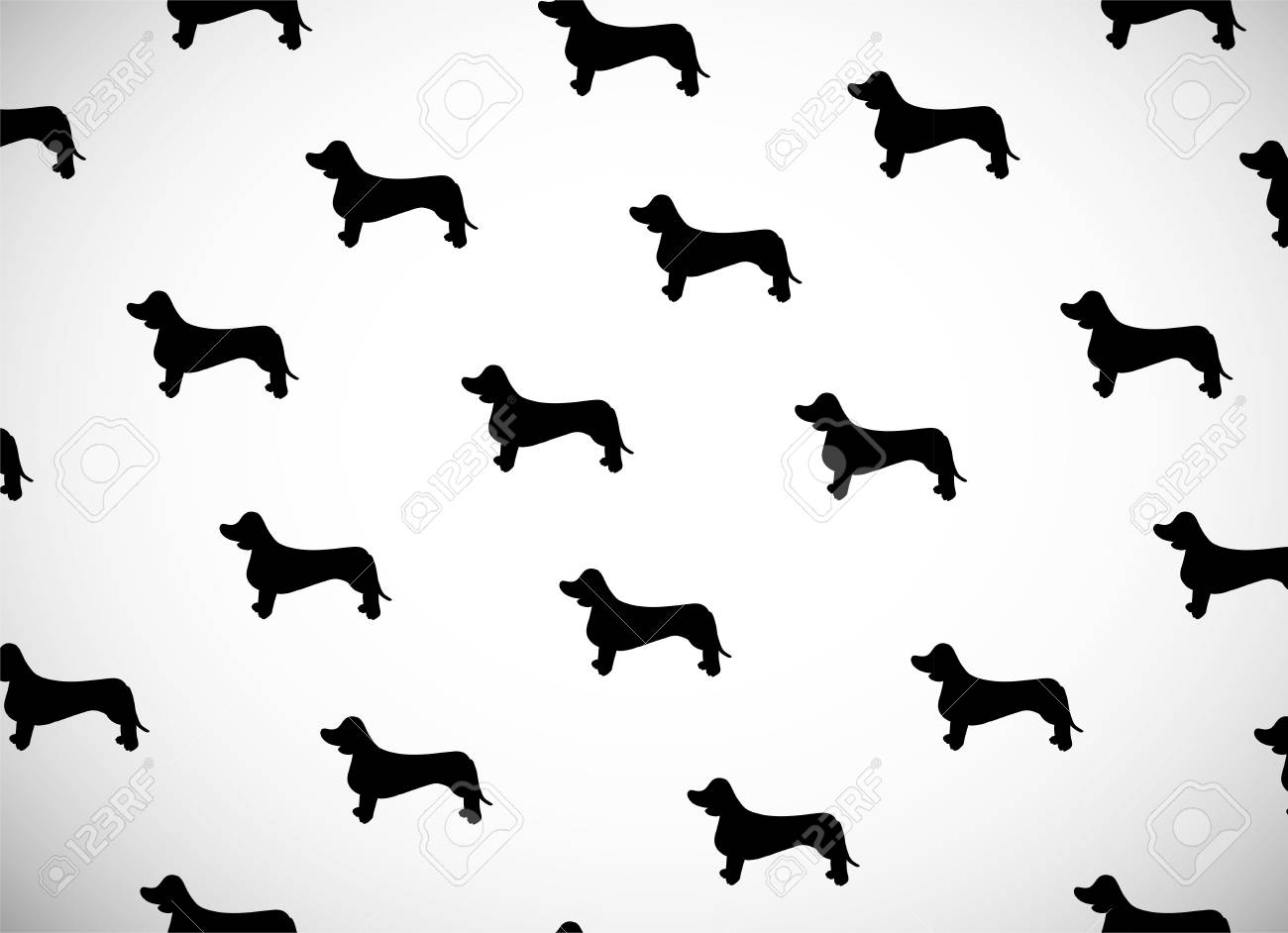 Greeting Card With Black Silhouettes Of Dog Breed Dachshund Can Be Used For Wallpaper