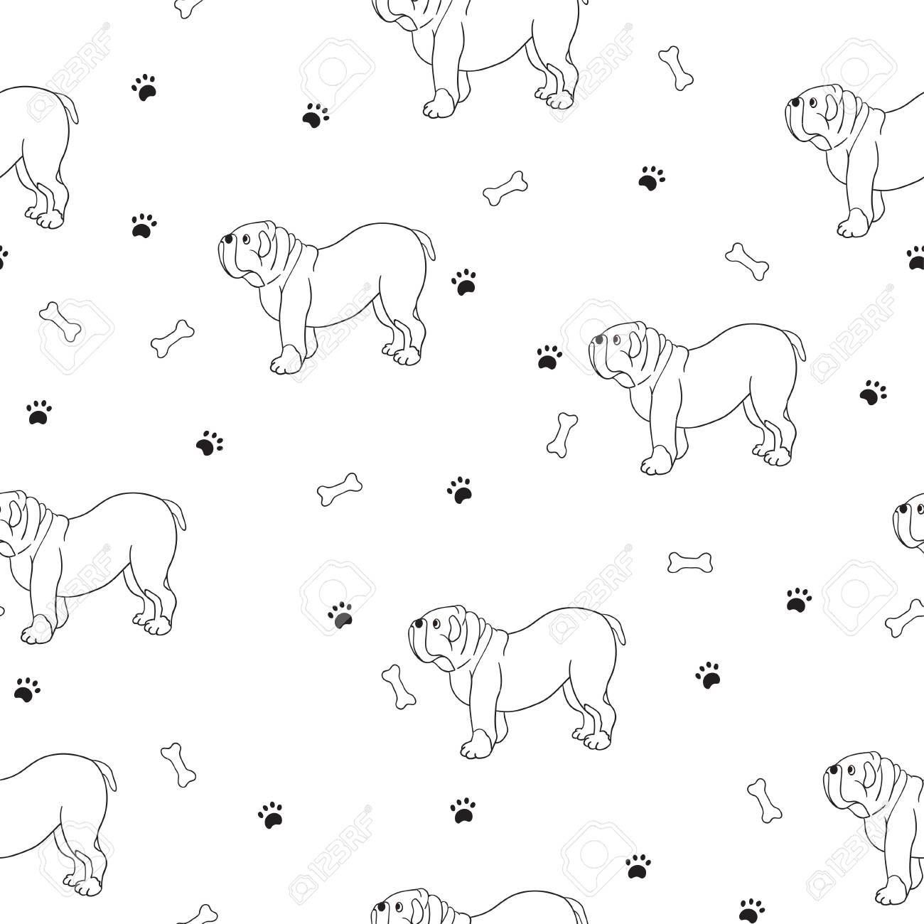 Interesante Patrón Sin Costuras Con Perros Lindos. Casta Bulldog ...