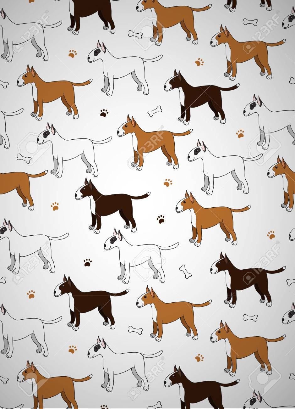 Awesome Greeting Card With Cute Cartoon Dogs Breed Bullterier