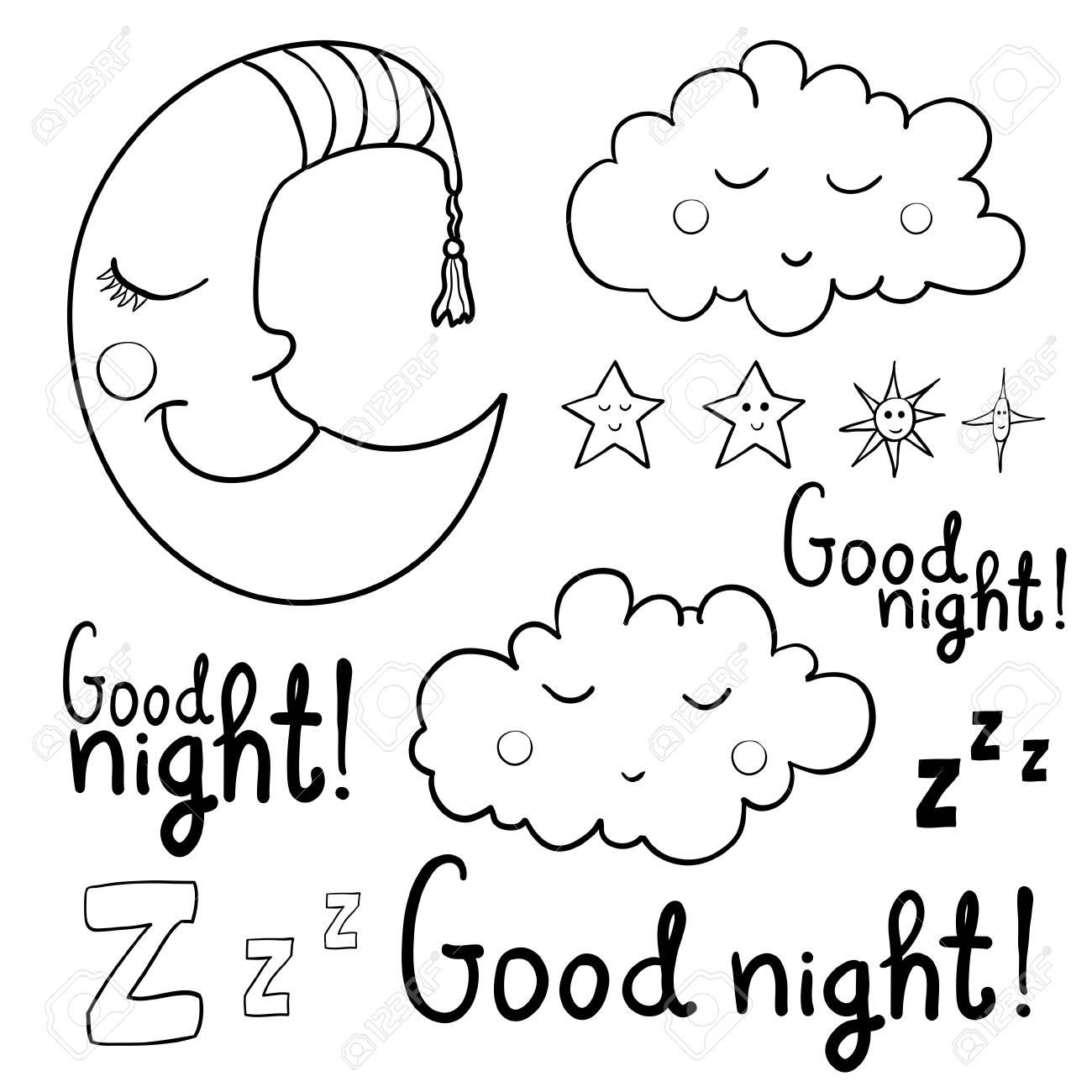 Conjunto De Imágenes Sobre Dormir Para Colorear Buenas Noches