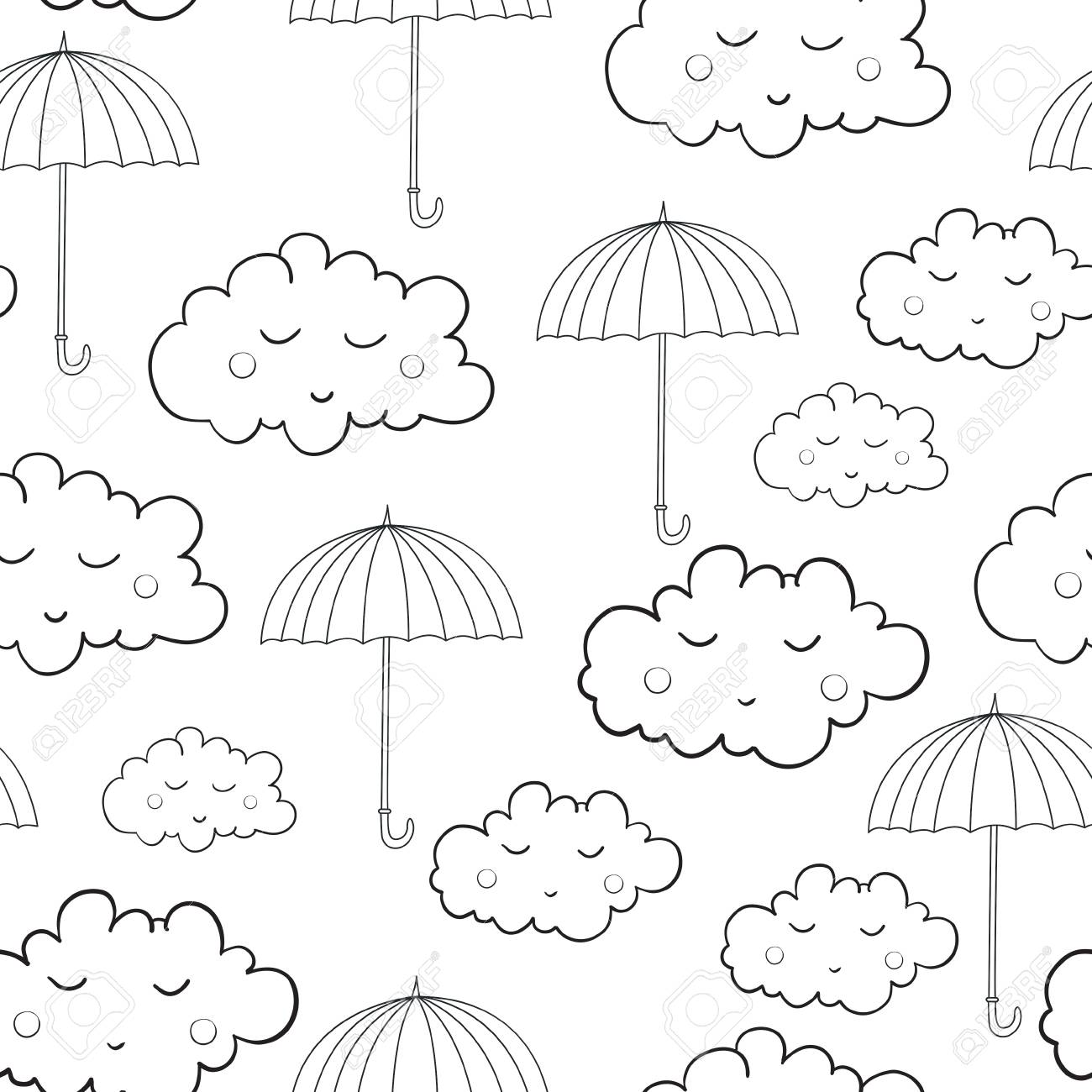 Seamless Pattern With Cute Sleeping Clouds Umbrellas And Rain Weather Can Be Used For