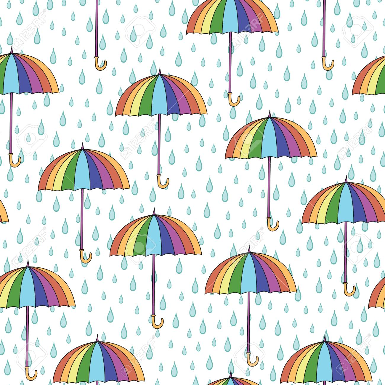 Seamless Pattern With Umbrellas And Rain Can Be Used For Wallpaper Fills
