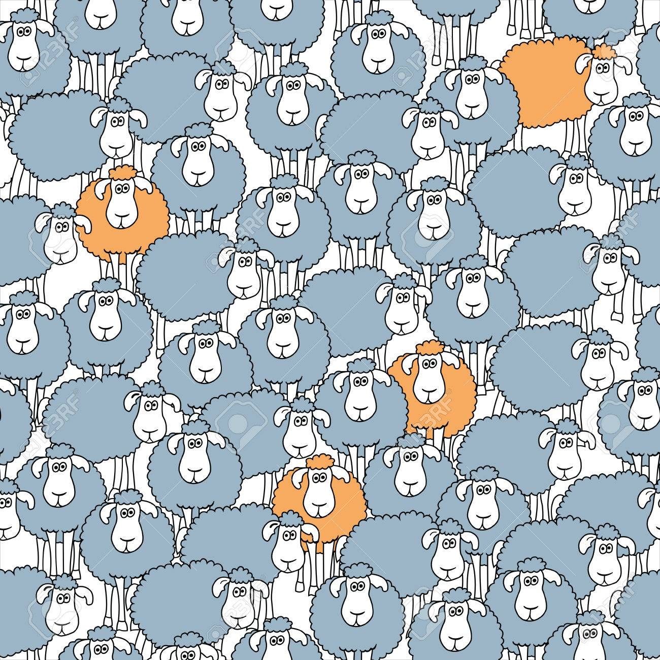 Seamless Pattern With Fun Cartoon Sheep Can Be Used For Wallpaper Fills