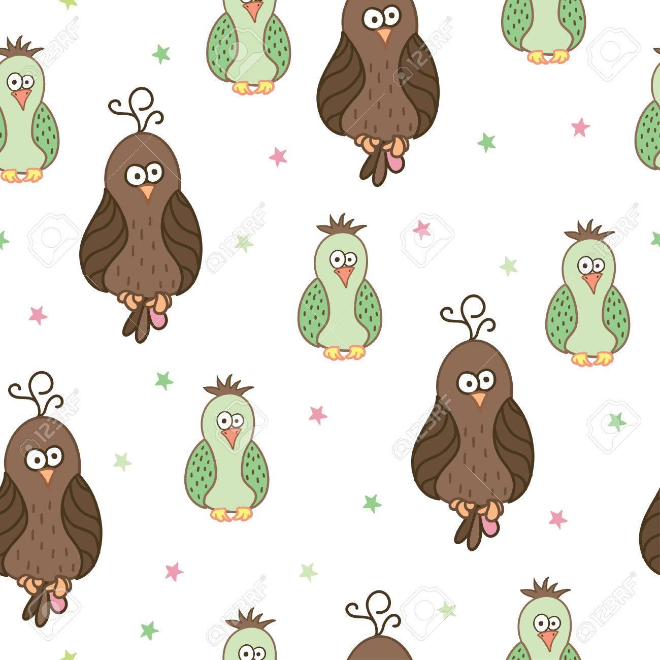 Patrón Sin Costuras Con Aves Lindas De Dibujos Animados. Se Puede ...