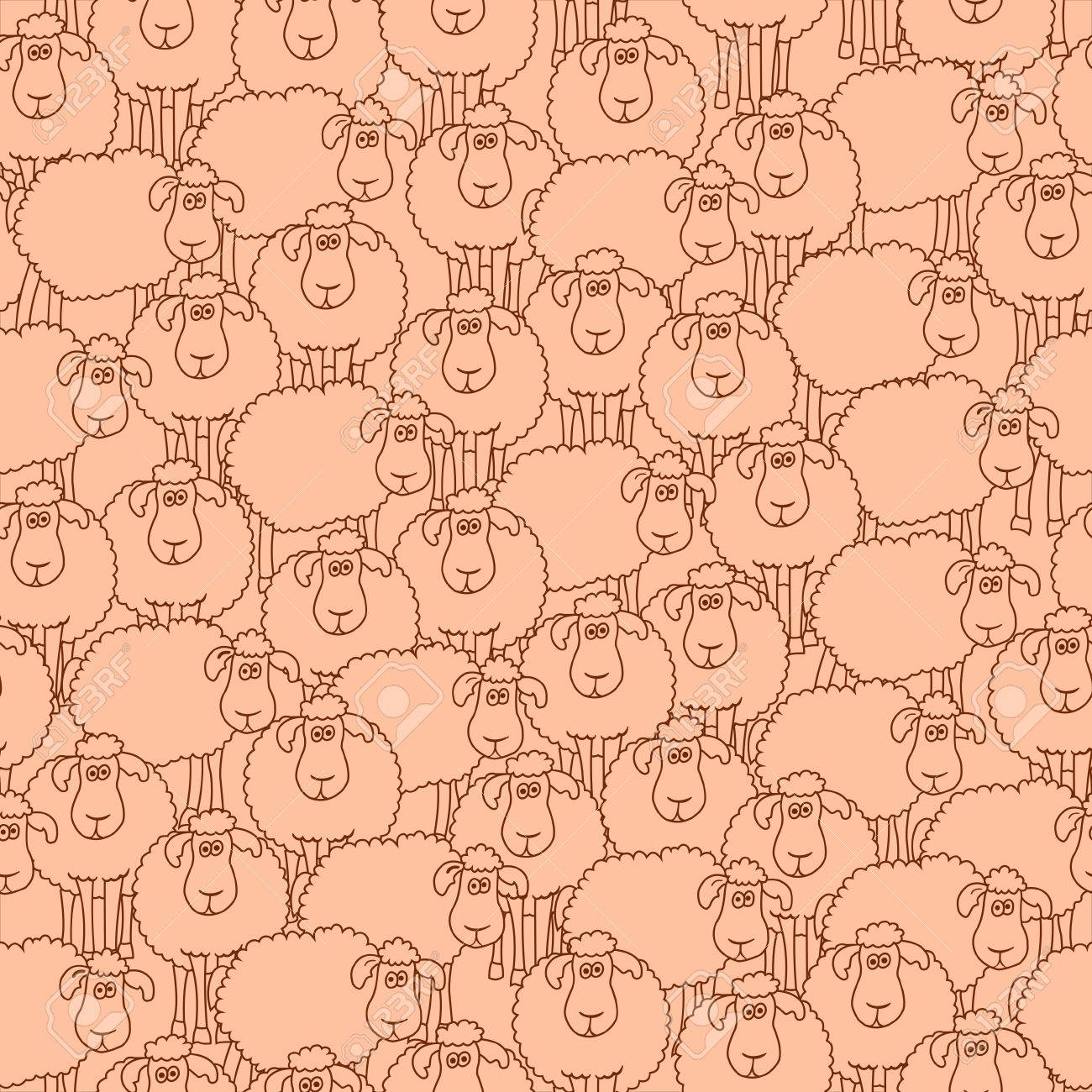 Seamless Pattern With Fun Cartoon Sheep Can Be Used For Wallpaper