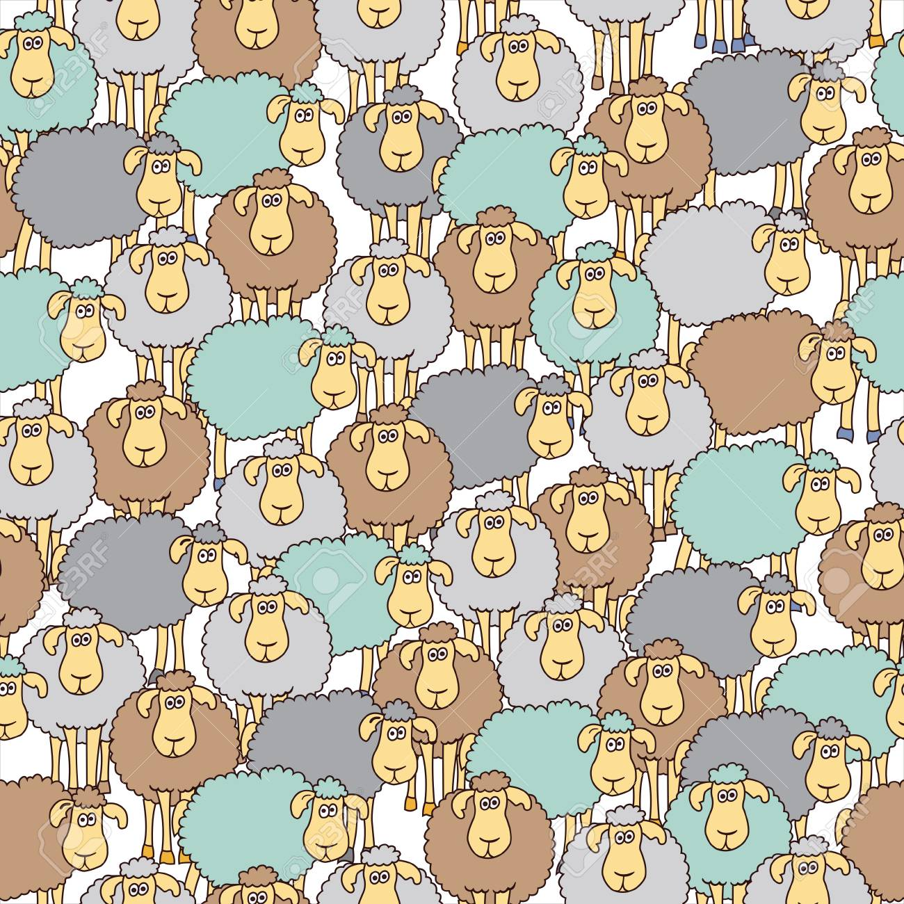 Seamless Background With Fun Colored Sheep Can Be Used For Wallpaper Pattern Fills